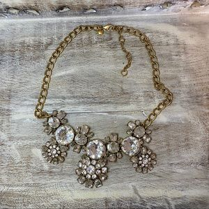 J Crew Factory Gold Crystal Statement Necklace